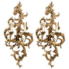 Pair of French 1850s Rococo Revival Giltwood Two-Light Sconces