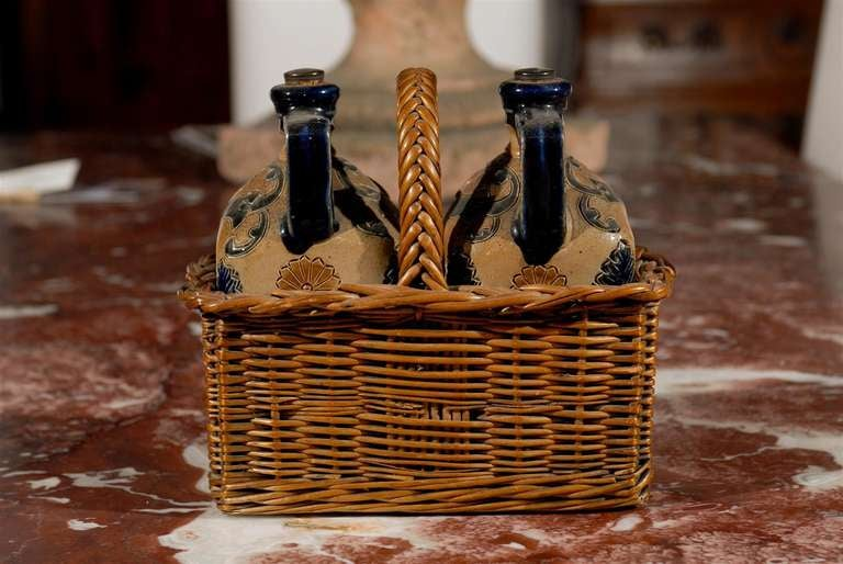 Two Victorian English Pottery Decanters in Tantalus-Inspired Wicker Basket For Sale 3