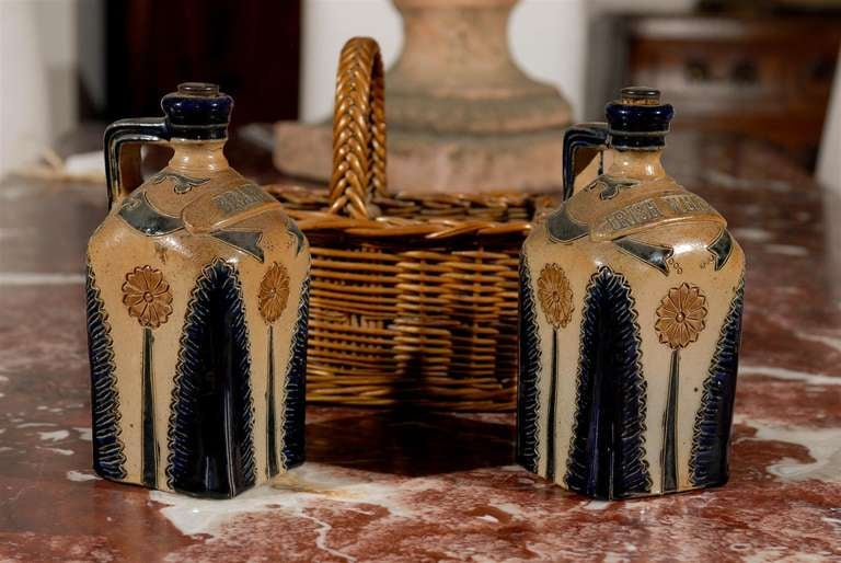 Two Victorian English Pottery Decanters in Tantalus-Inspired Wicker Basket For Sale 1