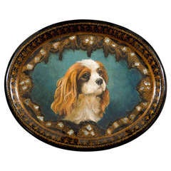 English Victorian Papier-Mâché Tray with Hand-Painted King Charles Spaniel Dog