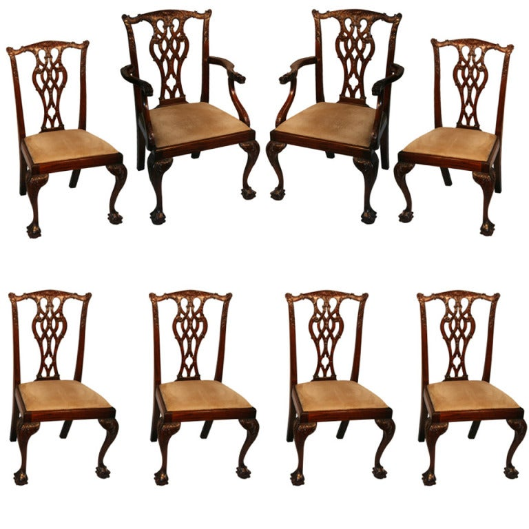 Dining room chairs set of 8 at 1stdibs for Dining room 8 chairs