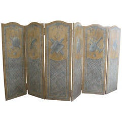 19th Century French Painted Six-Panel Musical Theme Screen
