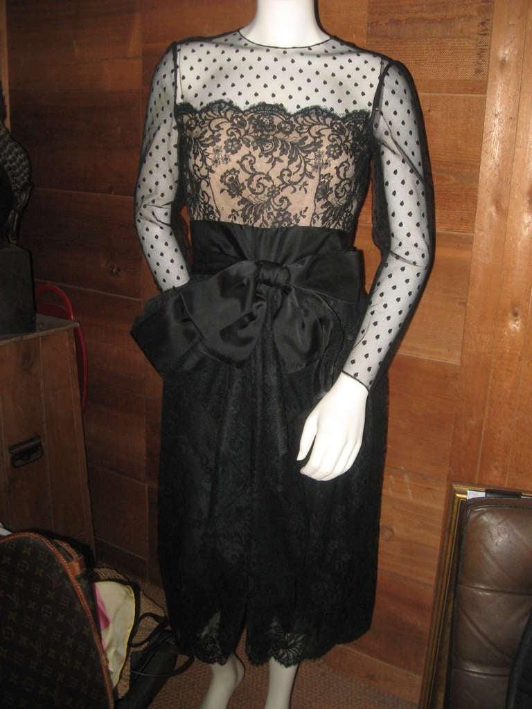 Vintage Bill Blass Little Black Lace Dress 2