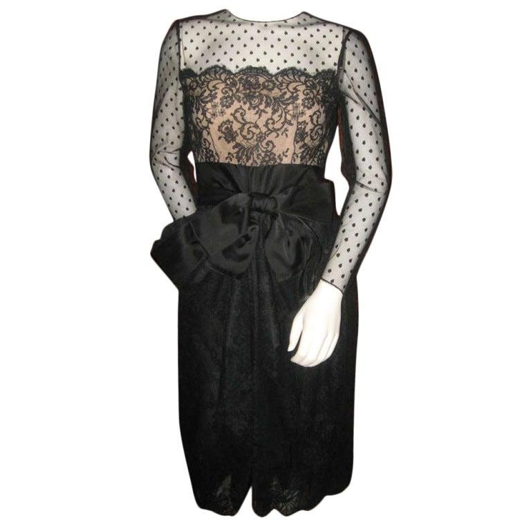 Vintage Bill Blass Little Black Lace Dress 1