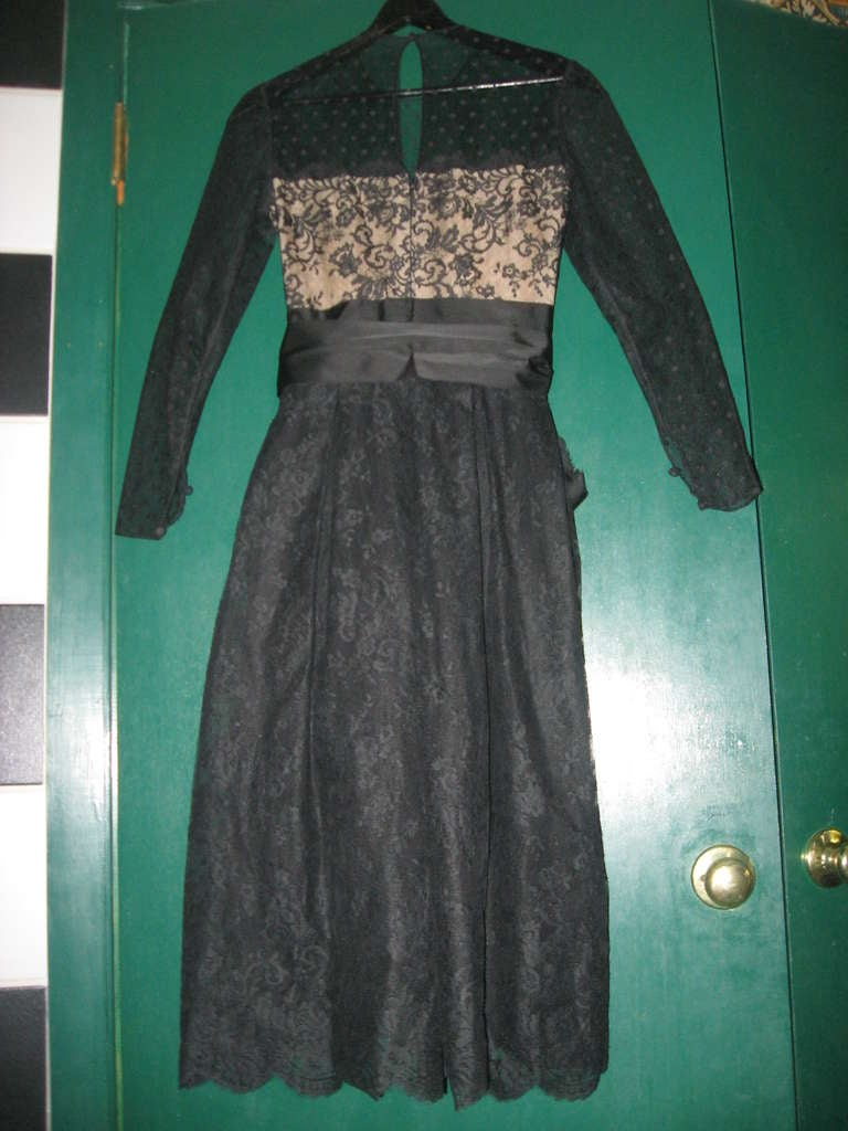 Vintage Bill Blass Little Black Lace Dress 5