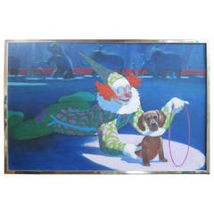 Circus with Clown and Dog Oil Painting