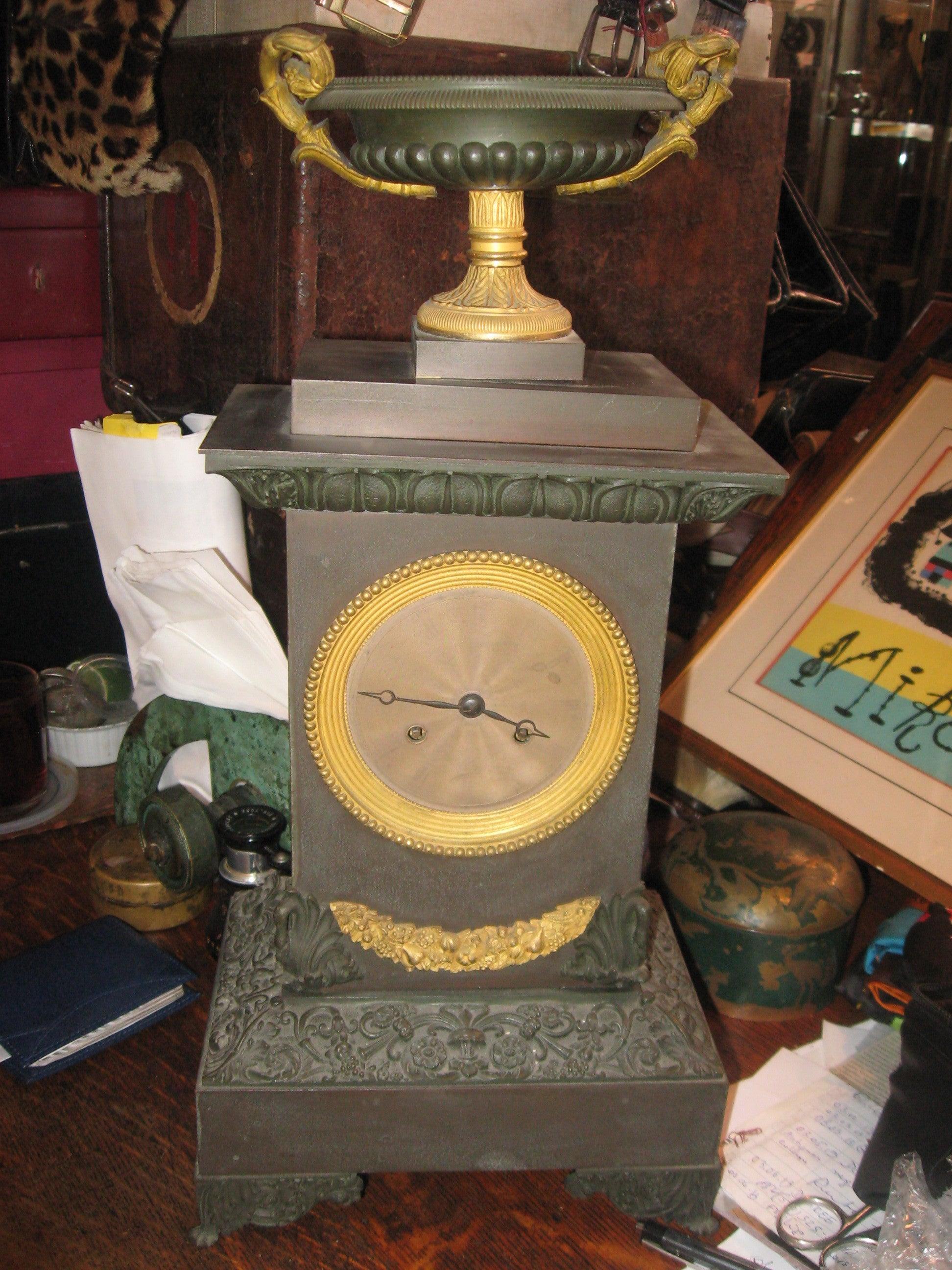 19th Century, Iron and Bronze Clock