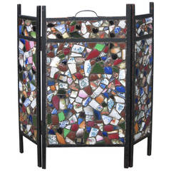 Tramp Art Mosaic American Fire Screen