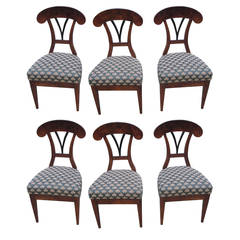 Rare Set of Six Biedermeier 19th Century Austrian Side Chairs