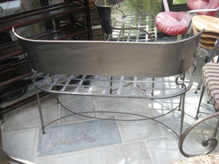 Three Italian Brushed Steel Loveseats or Garden Benches 4