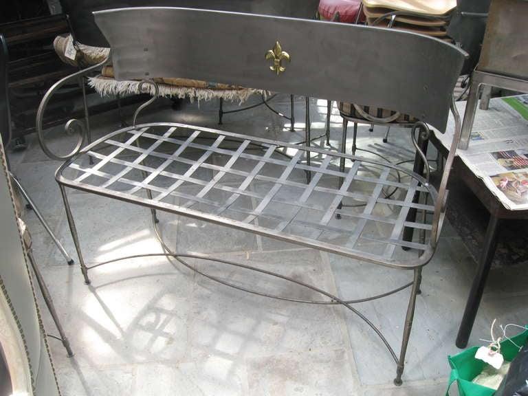Three Italian Brushed Steel Loveseats or Garden Benches 3