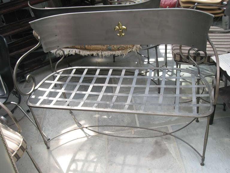 Three Italian Brushed Steel Loveseats or Garden Benches 5