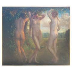 Monumental Nudes with Grapes 1935 Oil Painting by Arnaldo Tamborini
