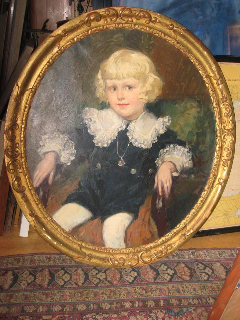 American Oil Painting of a Young Boy For Sale