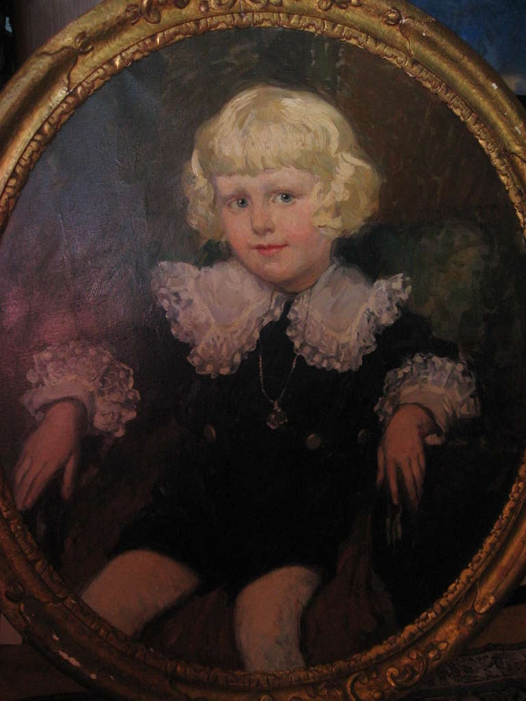 Oil Painting of a Young Boy In Good Condition For Sale In Water Mill, NY