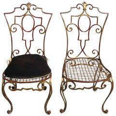 Jean Charles Moreux Pair of Gilded Wrought Iron Chairs, French, 1940s