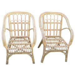 Pair of Mid-Century Stick Wicker Lounge / Armchairs
