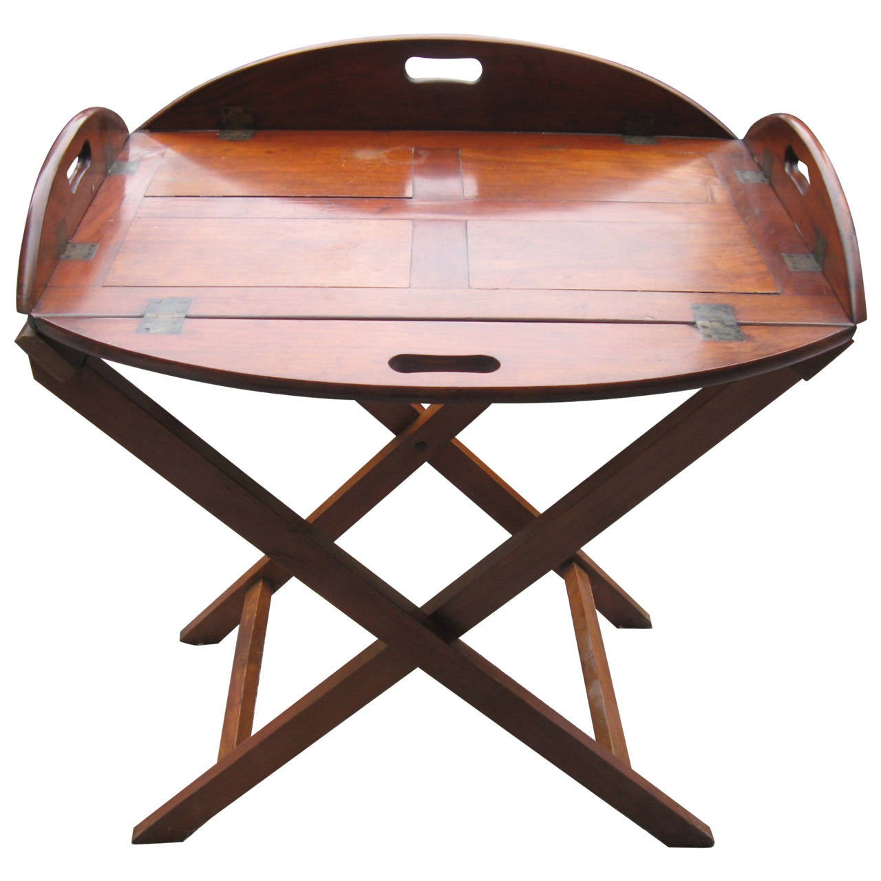 19th Century English Mahogany Butlers Tray Table For Sale