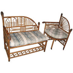 Antique Bamboo Settee and Matching Chair