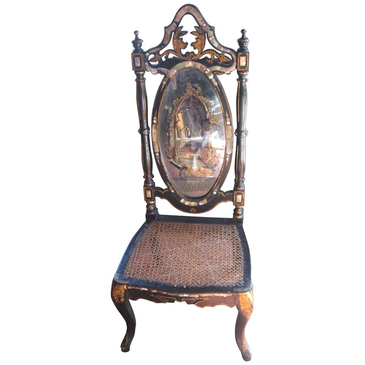 19th Century English Papier Mâché Slipper Chair
