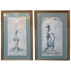 Midcentury Pair of Watercolor Paintings by Roderic Montagu