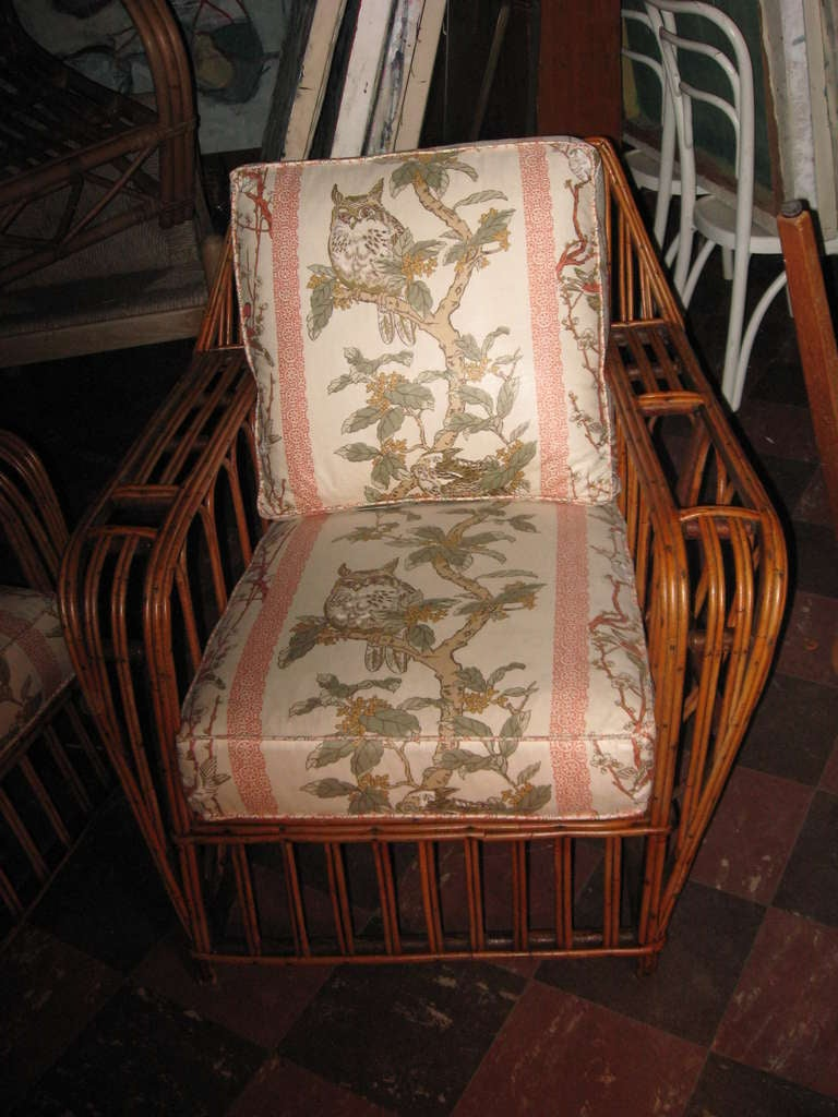 Vintage Pr Of Rattan Lounge Chairs With Cushions At 1stdibs