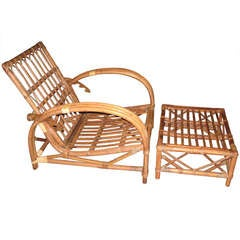 Vintage Pr.of Rattan Reclining Chairs with Ottomans