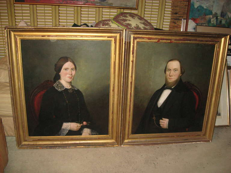 19th Century American Portraits In Good Condition For Sale In Water Mill, NY