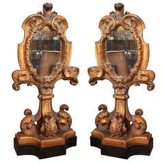 Pair of Antique Gilded Wood Applique Mirrors