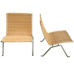 Poul Kjaerholm Pair of Wicker & Brushed Steel Lounge Chairs