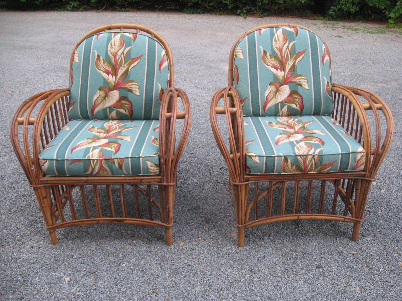 Vintage pair of lounge chairs with custom handmade cushions.