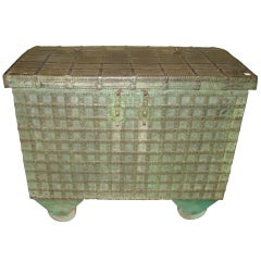 19thc Indian Chest on Wheels