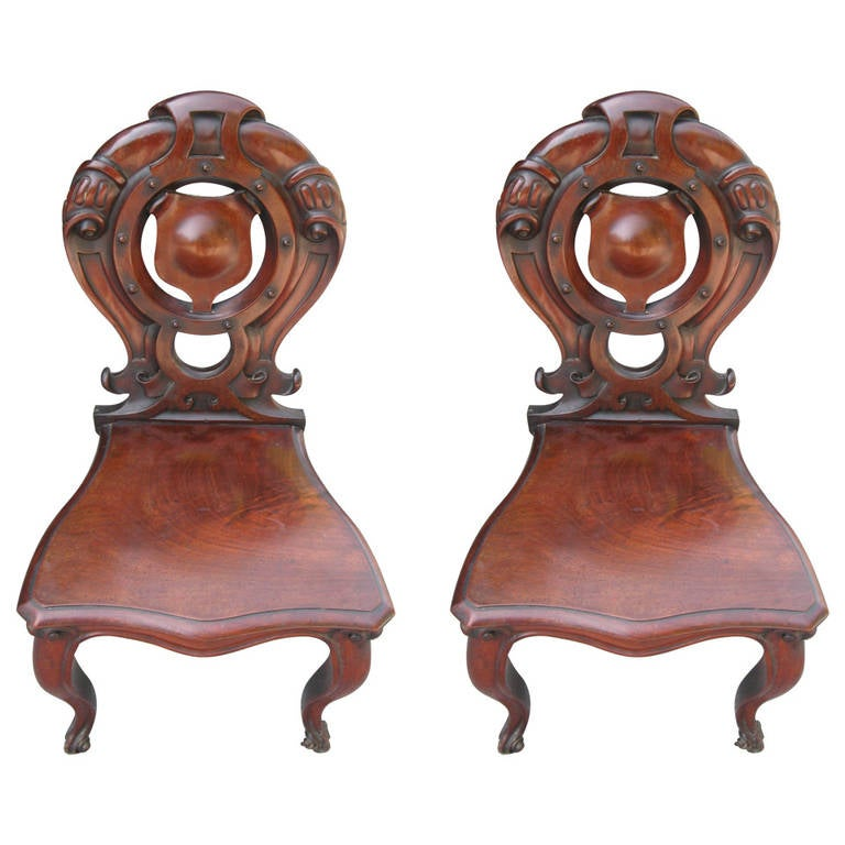 Pair of 19th Century English Mahogany Hall Chairs