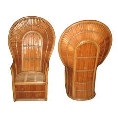 Pair of Vintage Peacock Lounge Chairs