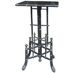 19thc Ebonized Faux Bamboo Table