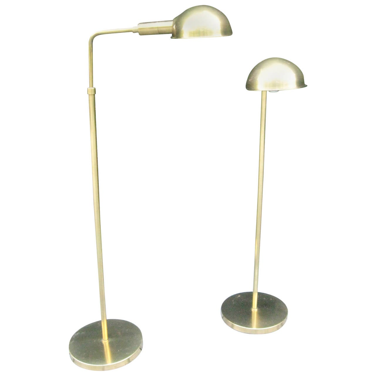 Vintage pair of adjustable brass floor reading lamps by for Antique floor lamp manufacturers
