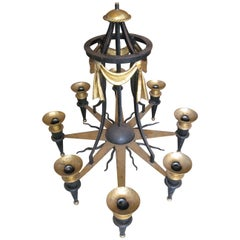 Massive Hand Forged Gilded Iron Sun Chandelier by Patrice Humbert
