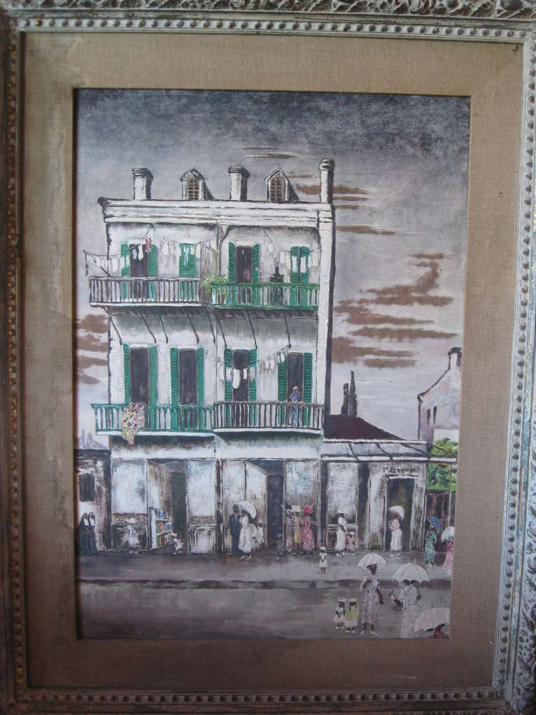 American Southern Street Scene Painting In Excellent Condition For Sale In Water Mill, NY