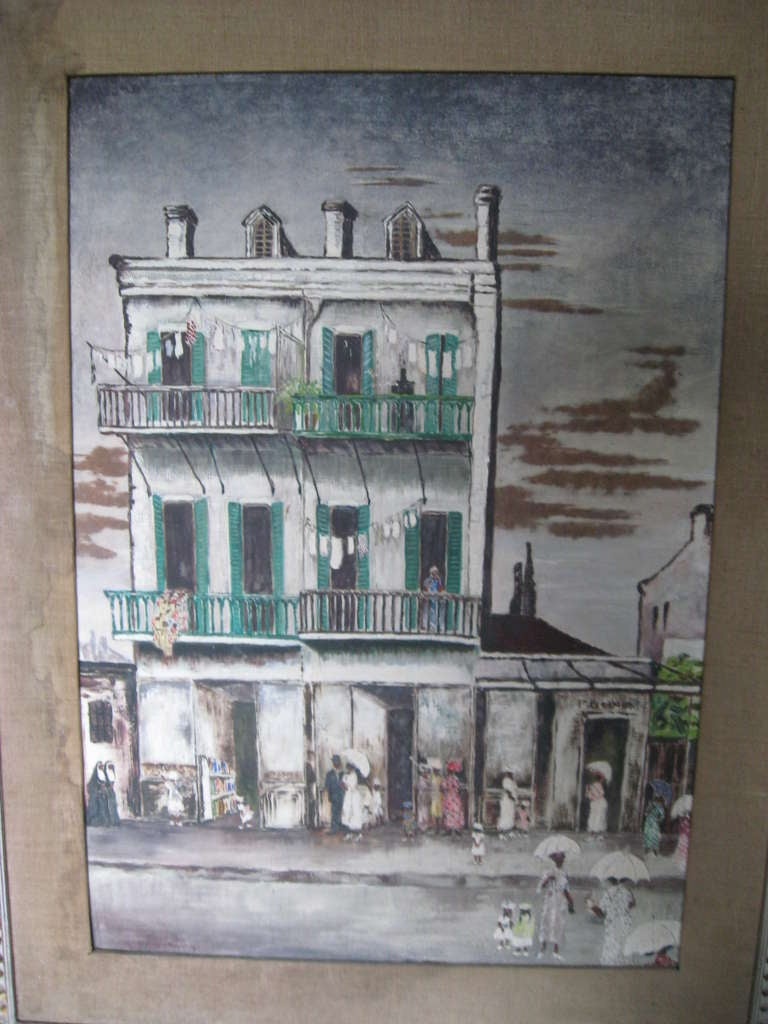 Mid-20th Century American Southern Street Scene Painting For Sale