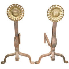 Pair of Sunflower Brass and Iron Andirons