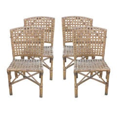 Vintage Four Stick Wicker Dining/Game Chairs