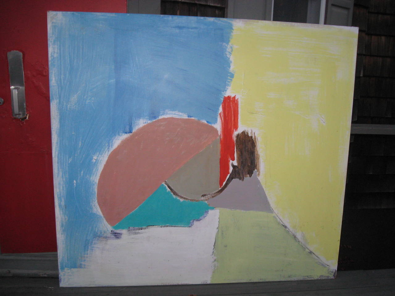 Mid-Century abstract oil painting from an Hampton's Estate, 66