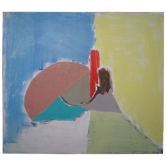 """66"""" Mid-Century Abstract Oil Painting"""