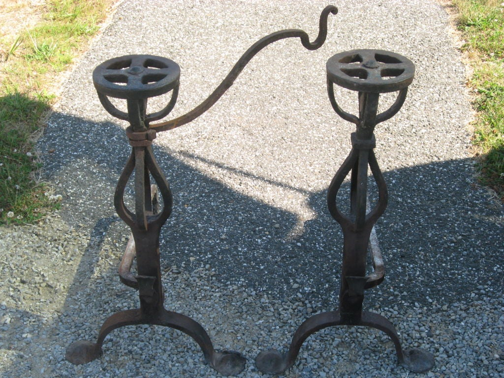 Tall Pair of Hand-Forged Iron Andirons For Sale 1