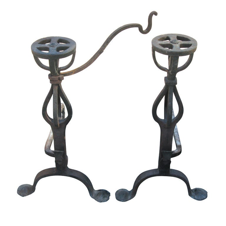 Tall Pair of Hand-Forged Iron Andirons For Sale