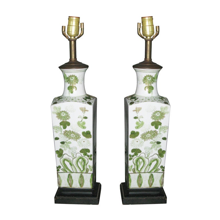 Pair of Hand-Painted Porcelain Oriental Lamps