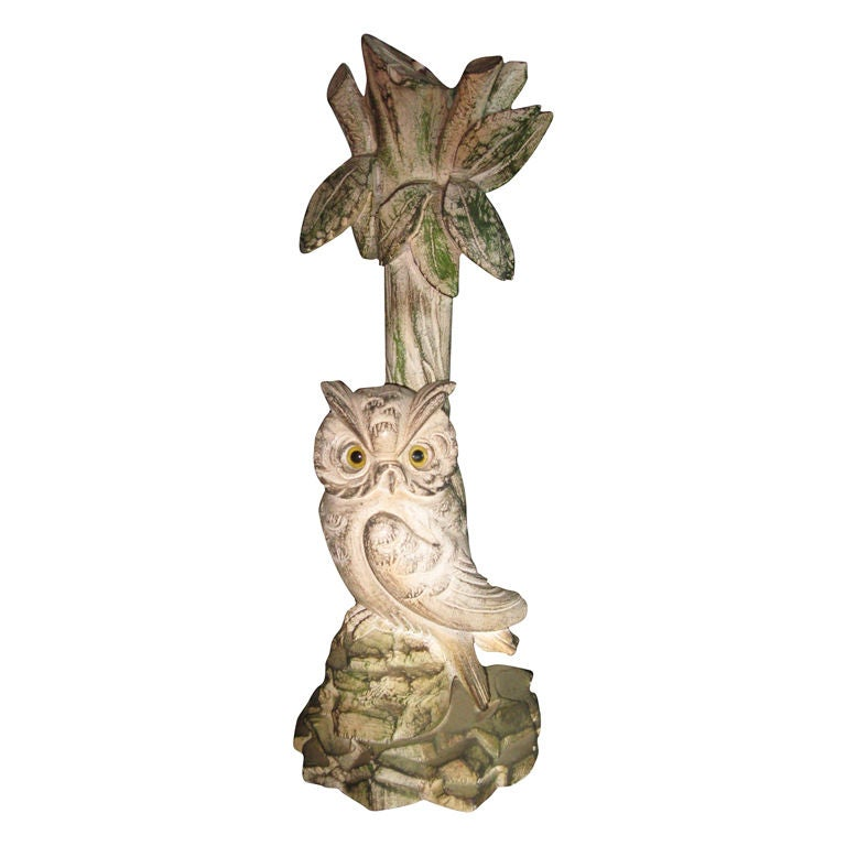 Hand carved wooden owl lamp for sale at stdibs