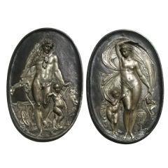 Pair of 19th Century Classical Iron Plaques