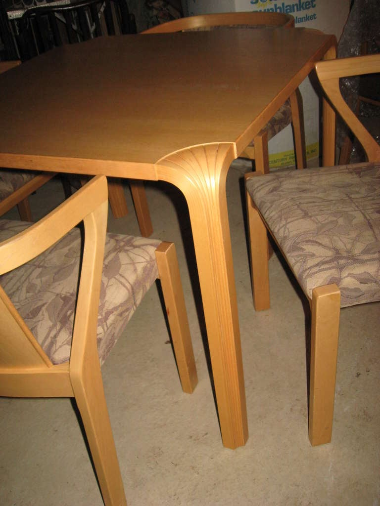 Finnish Alvar Aalto Dining or Game Table and Chairs For Sale