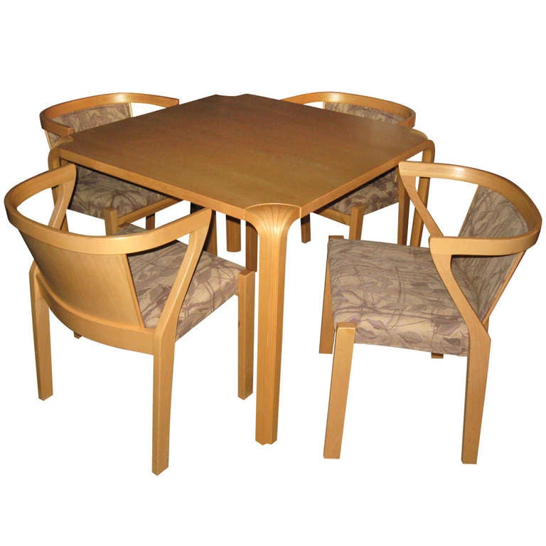 Alvar Aalto Dining or Game Table and Chairs at 1stdibs : 1001988l from www.1stdibs.com size 768 x 768 jpeg 46kB